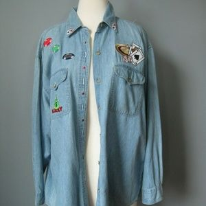 Get Lucky Denim Shirt Gambling Graphic blue denim